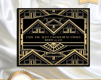 Great Gatsby Art Deco Backdrop for Photos, Wall Decor, Party Sign, Party Decoration, 1920's, 20's Style, Black and Gold - Printable, GG01