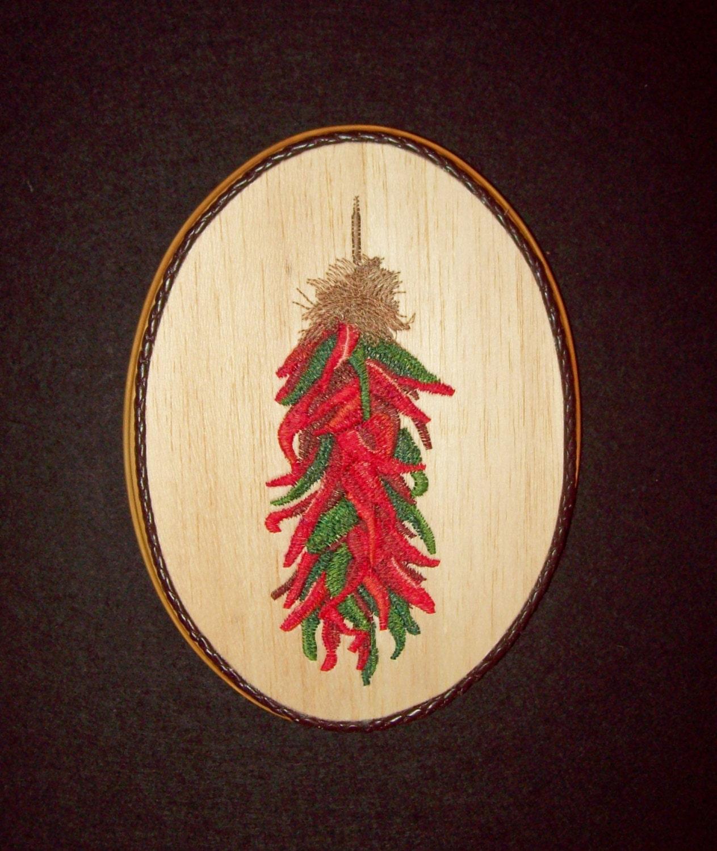 Chili Pepper Decor Wood Embroidery Art Hispanic Kitchen