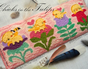 Punch Needle Embroidery DIGITAL Jpeg PDF PATTERN Michelle Palmer Spring Baby Yellow Chicks Tulip Patch Flowers Bumble Bee Heart Blossoms