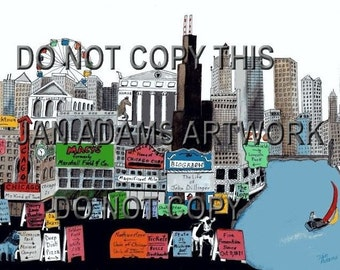 CHICAGO MEMORIES Giclee of Watercolor Painting Skyline Navy Pier Ferris Wheel Lake Shore Drive Deep Dish Pizza Lake Michigan Plane Banner