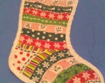Vintage Fabric Christmas Stocking Sock White Red Green Yellow Trumpets Mistletoe Snowflakes