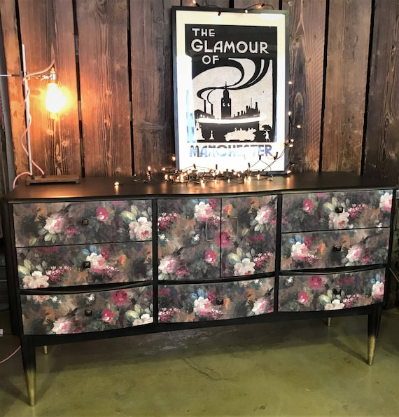 SOLD! Stunning 50s sideboard upcycled in vintage style florals. COMMISSIONS WELCOME