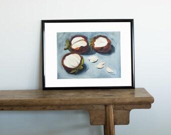 Mangosteen, Tropical Fruit, Fruit Painting, Original Art, Wall Decor, Fruit Still Life, Acrylic Painting,