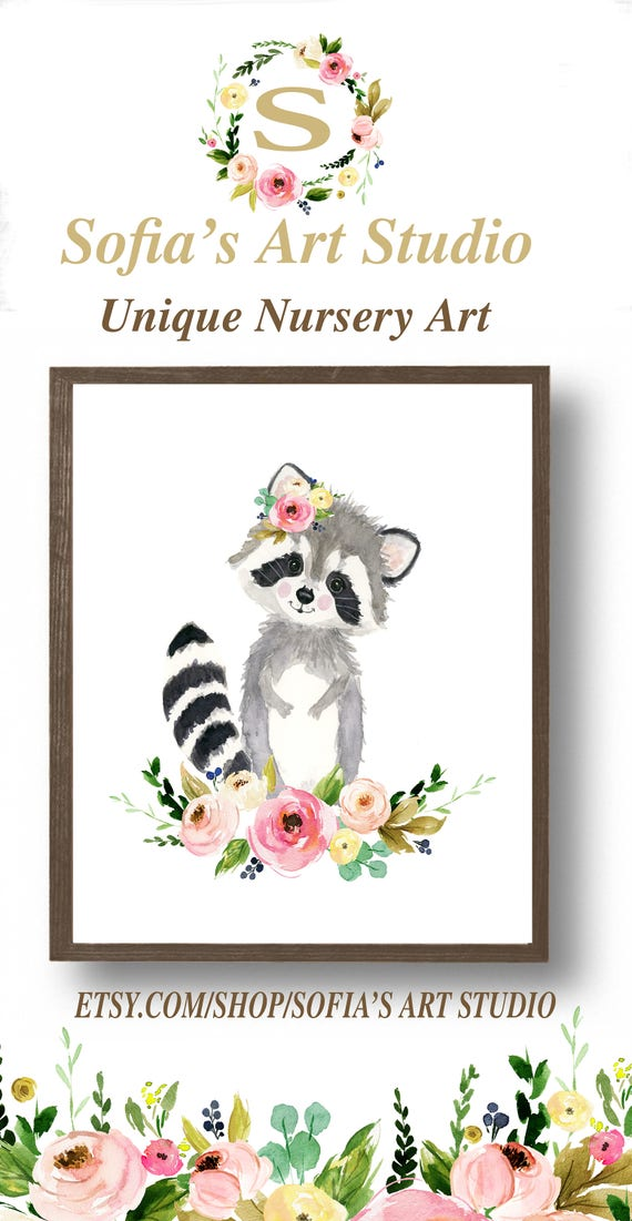 Flower Crown Animals Floral Nursery Raccoon Painting