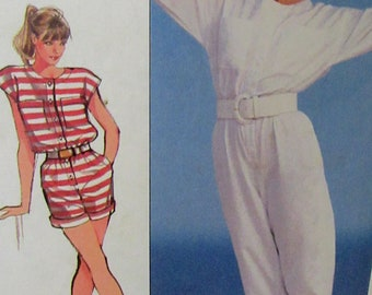Vintage 1980s Simplicity Pattern 8125, Jiffy Very Loose-Fitting Jumpsuit in Two Lengths Size 8-10-12  UNCUT
