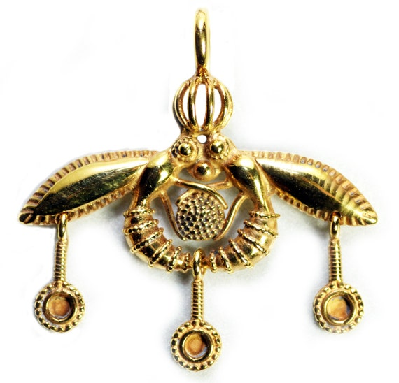 Minoan Bee Pendant Sacred Temple Reproduction Gold Bees In