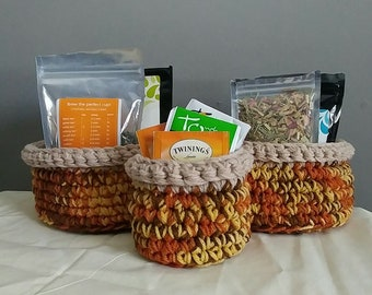 Rustic Basket Set (3), Crochet basket