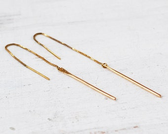 Bar Threader Earrings, Simple Bar and Chain Threader Earrings, Double Piercing Pull Through, Sterling Silver, Gold Filled, Gold Bar Earring