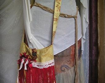 Red Fringe Purse, OOAK handmade shoulder bag, long fringe with flowers lace embellished