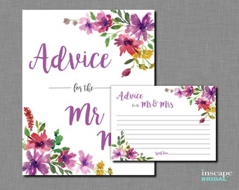 Advice for the Mr & Mrs Game Printable, Floral Bridal Shower Advice for the NewlyWeds Activity, Purple Flower Bridal Shower Advice Game Card