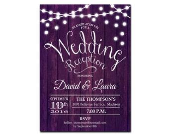 Wedding Reception Invitation / Purple Printable Invitation / Rustic Printable Wood / Fairy String Lights / Digital Printable Invitation