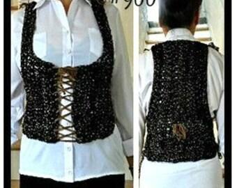 Crochet PATTERN-Laced Vest,  crochet pattern for women, kids,  Chest 26-60 inch, #960