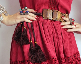 Boho Chic Belt,Wooden Belt,Tie Belt,Gypsy Belt,Belt with Tassels,Hippie Chic,Adjustable Belt