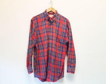 70s Guild Shirtmakers Coventry Twill Red and Blue Plaid Flannel Button Down Shirt