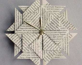 First Anniversary Gift For Her - Your Wedding Vows or Special Song - Origami Clock