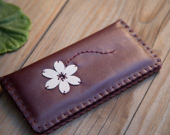 Handmade Leather bifold woman wallet, slim wallet, chic, floral design, hand stitched, perfect gift for her