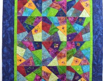 Batik Crazy Quilt Embellished