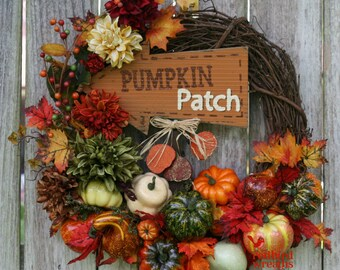 Fall Wreath, Grapevine Wreath, Fall Country Wreath, Fall Rustic Wreath, Pumpkin  Patch Photo