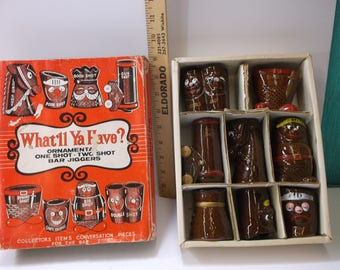Vintage Novelty Brown Ceramic Bar-ware Shot Glass Set Made In Japan NOS NIB Set Of 8. epsteam