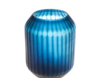 Cobalt blue smoke vase - short - W 19 cm / D 19 cm / H 28 cm / 2.3 kg