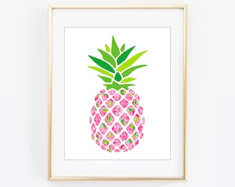 Lilly Pulitzer Inspired First Impression Pineapple Wall Frame Printable