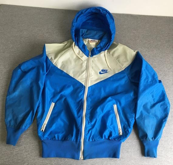 NIKE WINDBREAKER Jacket 70s/80's Vintage/ Original Full Zip Hooded Running  Vent Warm Up Nylon Track/ Breakdance Hip Hop Blue Grey Men Large