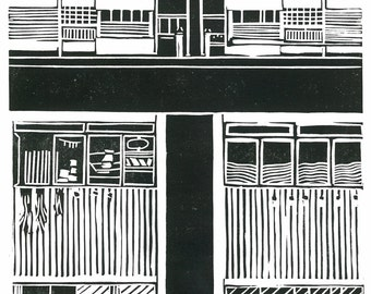 Linoleum Block Print - PROPORTIONS and SUBDIVISIONS -  Singapore City Architecture - 9x13 Print - Ready to Ship