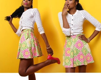 A-Line Canvas Wrap Skirt in Pink and Green Floral
