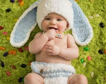 Baby Boy Bunny Hat, Newborn Bunny Hat, Baby Rabbit Hat, Baby Boy Hat, Baby Boy Easter Hat, Crochet Bunny Hat, Hat for Boys, Fluffy Bunny Hat