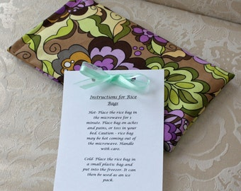 Therapeutic Rice Bag, Heating Pad, Hand Warmer, Fiona's Fancy, Purple, Green, Floral, Flowers