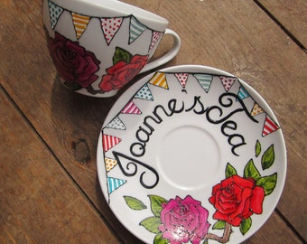 Hand painted bunting & rose custom cup and saucer, birthday or wedding gift