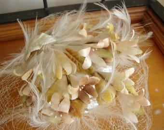 Vintage Millinery Flowers Veil Hat with Velvet Millinery Flowers Netted Veil  Lovely!