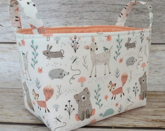 Storage and Organization  - Woodland Baby Animals - Bear Deer Fox - Fabric Bin Storage Container Basket - Baby Room Decor