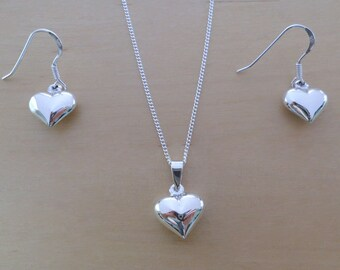"925 Sterling Silver Drop Dangling Love Heart Earrings and Pendant Set on 16, 18 or 20"" Sterling Silver Curb Chain"