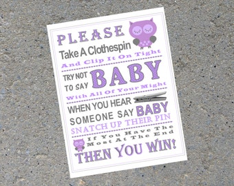 Baby Shower Game: Don't Say Baby Sign ***PURPLE OWL***