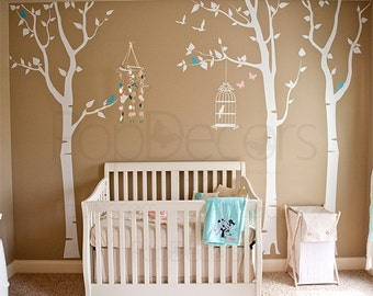"""Nursery Tree Decals, Nursery Wall Stickers, Baby Nursery Wall Decals, Birch Tree Wall Decal- Three birch trees and birdcage 102""""h PT-0054"""