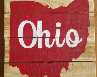 Ohio Silhouette Pallet Sign | Ohio State | Buckeyes | Custom Sign | Wood Decor