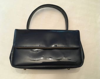 Navy Blue Patent Leather Pappagallo Bag