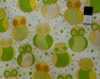fabric child's flannel with owls, Little Owls Della flannel