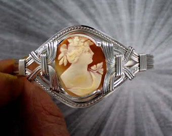 Hand Carved Shell  Cameo Bracelet in Sterling Silver Wire Wrapped Size 5 to 9