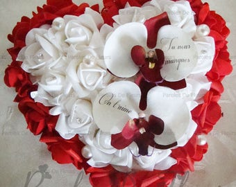 mourning - funeral flowers - heart of roses and orchids like to customize
