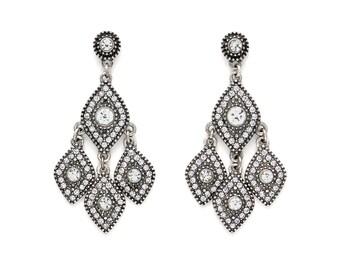 Monaco Grace Crystal Silver Vintage Chandelier Earrings, Vintage Chandelier Earrings, Bridesmaid Earrings, Wedding Earrings, Bridal Earrings