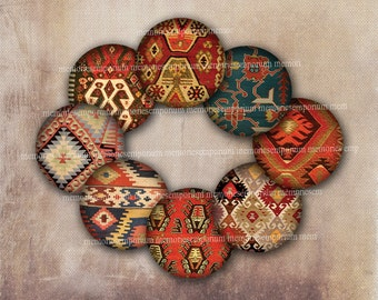 Kilim Pattern Circles Collage Sheet Download One 1 Inch Eastern for Decoupage Buttons Magnets Jewelry Bottletops Bottle Tops Badges 540