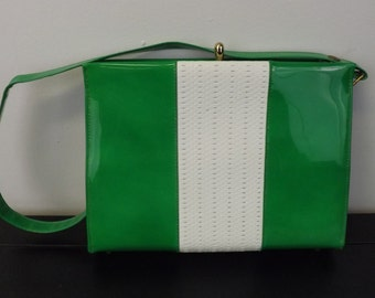 RESERVED  Fab Green and White Patent Leather Handbag  RESERVED