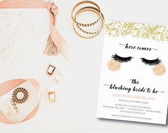 Here Comes the Blushing Bride to Be DIY Printable Bridal Shower Invitation
