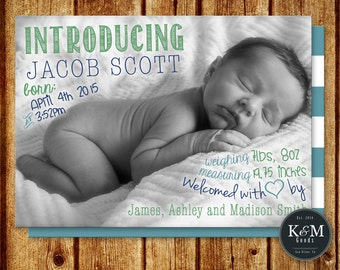 Baby Announcement / Baby Boy Birth Announcement / Baby Girl Birth Announcement / Photo Baby Announcement / Printable Digital Announcement