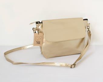 Vegan Crossbody, Gold Handbag, Women Purse, Evening Crossbody, Women Bag, Zipper Shoulder Bag, Shoulder Minimalist Purse, Everyday Purse