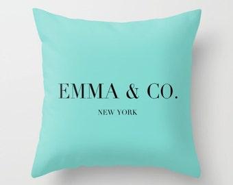 Breakfast at Tiffanys Pillow, Personalized Pillow, Aqua, Breakfast at Tiffanys Decor, Girls Bedroom Decor, Teen Room Decor, Dorm Pillow