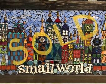 COLORFUL SMALLWORLD glass mosaic wall panel, hand cut stained glass mosaic wall hanging