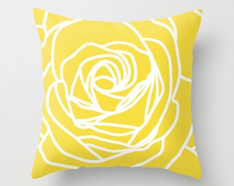Rose Pillow  - Modern Flower -Yellow - Pastel Home Decor -  By Aldari Home
